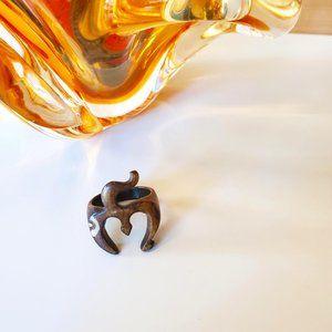 3/30$ 🍂 Hand Carved Natural Bone Om Symbol Statement Ring Boho